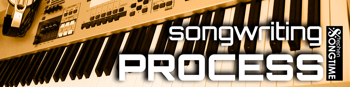 synthesizer/workstation with the title songwriting process superimposed